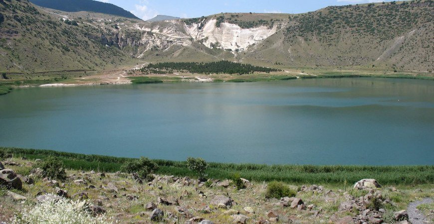 The Lake of Nar and Gullu Mountain in Cappadocia Turkey